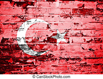 flag of Turkey painted on a wall