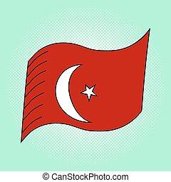 Flag of Turkey pop art vector illustration