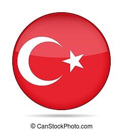 Flag of Turkey. Shiny round button.