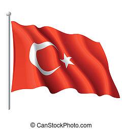 Vector illustration of flag of Turkey