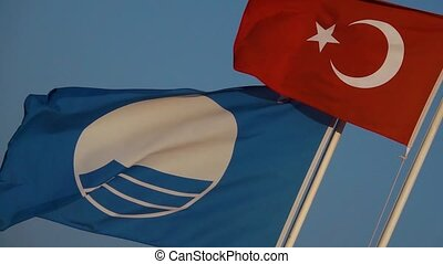 Flag of Turkey waving in the wind blue sky on background....