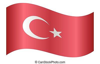 Flag of Turkey waving on white background