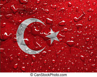 flag of Turkey with rain drops