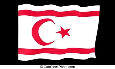 Flag of Turkish Republic of Northern Cyprus.  Waving flag