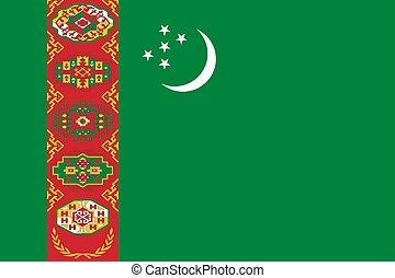 Flag of Turkmenistan official colors, proportions