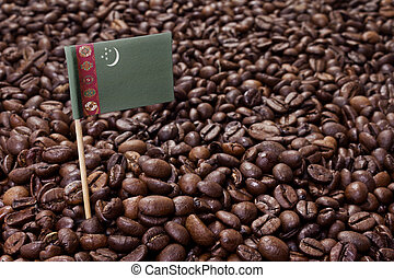 Flag of Turkmenistan sticking in coffee beans.(series)