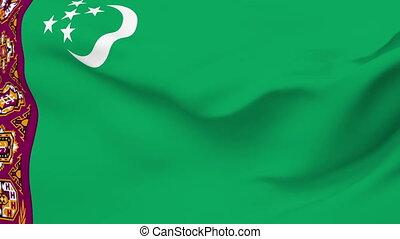 Flag of Turkmenistan - Flag of the Turkmenistan waving in...