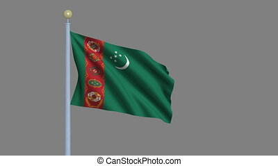 Flag of Turkmenistan waving in the wind with flagpole -with...