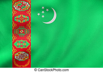 Flag of Turkmenistan waving, real fabric texture
