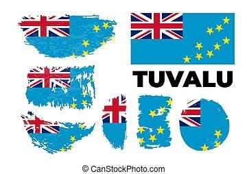 Flag of Tuvalu the illustration vector on a white background, brush stroke