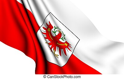 Flag of Tyrol against white background. Close up.
