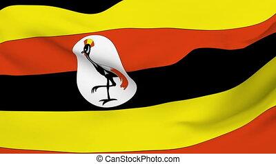 Flag of the Uganda waving in the wind. Seamless loop
