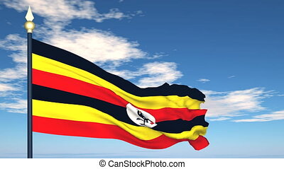 Flag Of Uganda on the background of the sky and flying...