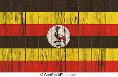 Flag of Uganda painted on wooden frame