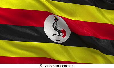 Flag of Uganda gently waving in the wind. Seamless loop with high quality fabric material.