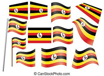set of flags of Uganda vector illustration