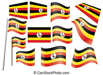 flag of Uganda - set of flags of Uganda vector illustration