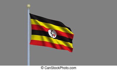 Flag of Uganda waving in the wind