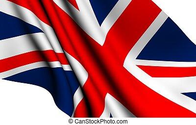 Flag of UK against white background. Close up.