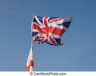 Flag of UK over blue sky