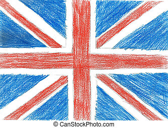 Flag of UK, pencil drawing