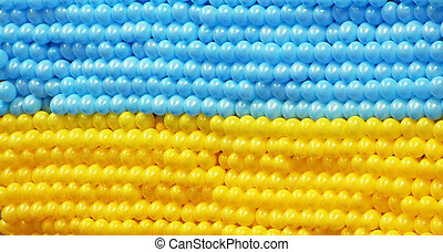 Flag of Ukraine composed with balloons