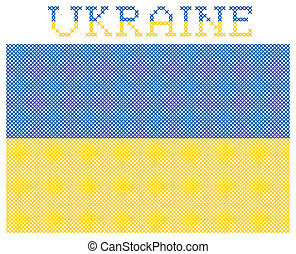 Flag of Ukraine. Embroidery - Embroidered national flag of...