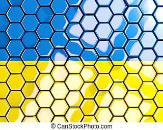 Flag of ukraine, hexagon mosaic background