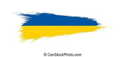 Flag of Ukraine in grunge brush stroke.