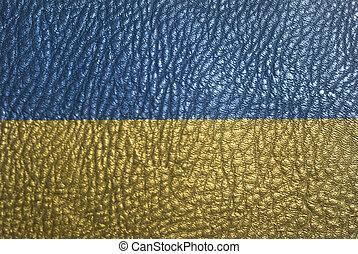 Flag of Ukraine on leather texture