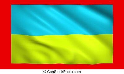 Flag of Ukraine on red screen for chroma key