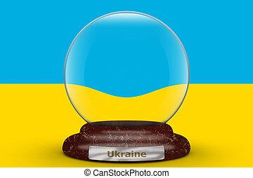 Flag of Ukraine on snow globe