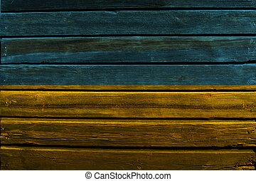 Flag of Ukraine on wood