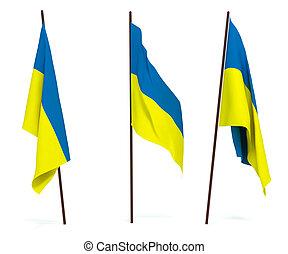Flag of Ukraine - The state flag of Ukraine. On white ...