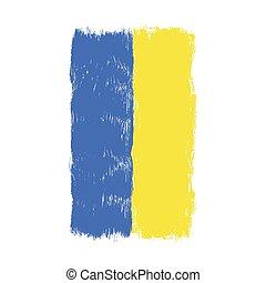 Flag of Ukraine, watercolor brush style,