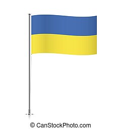 Flag of Ukraine waving on a metallic pole.