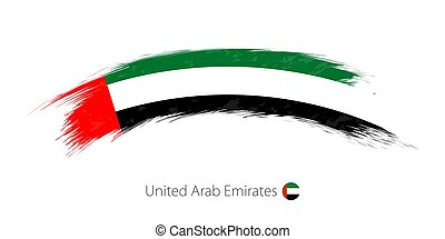 Flag of United Arab Emirates in rounded grunge brush stroke.