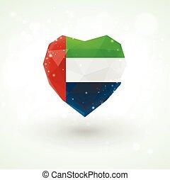 Flag of United Arab Emirates in shape diamond glass heart. Triangulation style