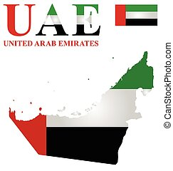 United Arab Emirates - Flag of United Arab Emirates overlaid...