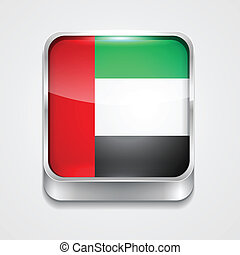 flag of united arab emirates - vector 3d style flag icon of...