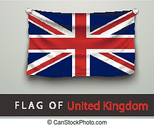 FLAG OF united kingdom battered, hung on the wall