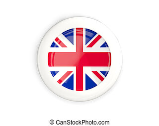 Flag of united kingdom, glossy round button