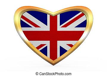 Flag of United Kingdom, heart shape, golden frame