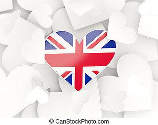 Flag of united kingdom, heart shaped stickers