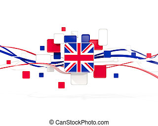 Flag of united kingdom, mosaic background with lines