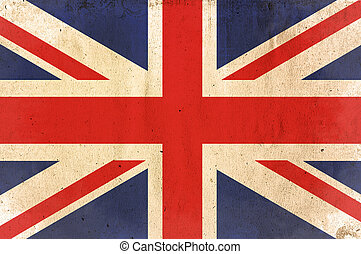 flag of United Kingdom - old and worn paper style