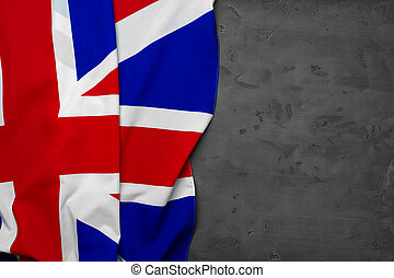 Flag of United Kingdom on grey background