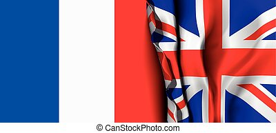 Flag of United Kingdom over the France flag. Vector...