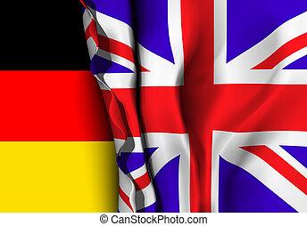 Flag of United Kingdom over the German flag.