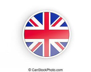 Flag of united kingdom. Round icon with frame